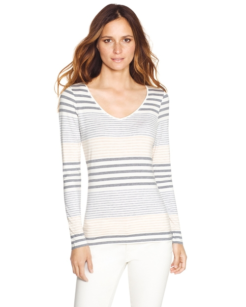 Long Sleeve Striped Tee by White House in Rosewood