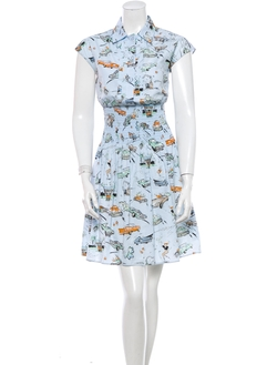 Retro Car Pattern Shirt Dress by Prada in Elementary