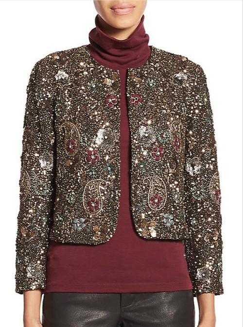 Kidman Embellished Cropped Jacket by Alice + Olivia in Arrow - Season 4 Episode 9