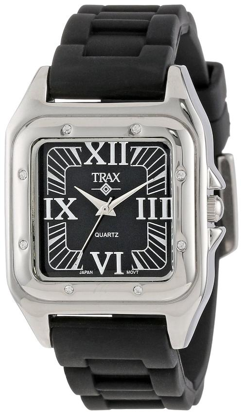 Women's Square Rubber Black Dial Watch by Trax in Project Almanac
