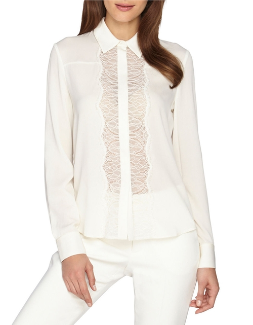 Poe Lace Trim Placket Blouse by Catherine Catherine Malandrino in Pretty Little Liars - Season 6 Episode 3