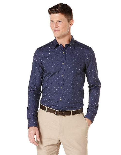 Jacquard Dot Slim Fit Sport Shirt by Perry Ellis in Dope