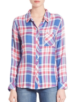 Hunter Herringbone Plaid Shirt by Rails in Into the Forest