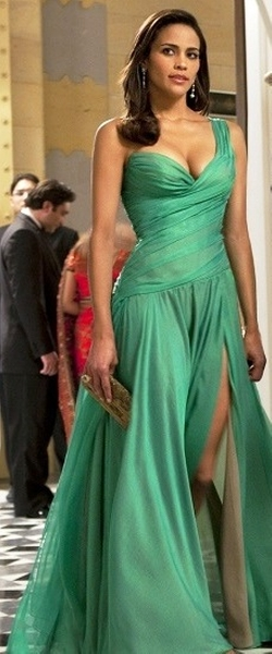 Custom Made Green One Shoulder Evening Gown by Michael Kaplan (Costume Designer) in Mission: Impossible - Ghost Protocol
