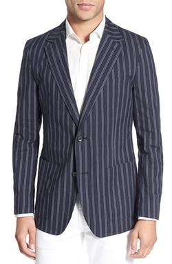 Trim Fit Stripe Cotton & Linen Sport Coat by Bonobos in Blow