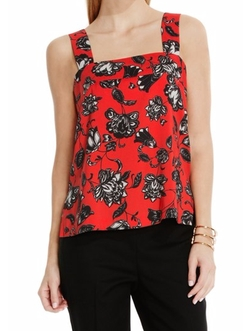 Floral Print Square Neck Tank Top by Vince Camuto in Lady Dynamite