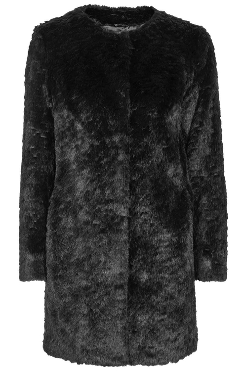 Short Faux Fur Collarless Coat by Topshop in American Horror Story - Season 5 Episode 5