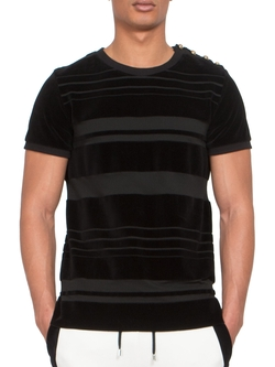 Striped Button-Shoulder Velvet Tee by Balmain in Empire