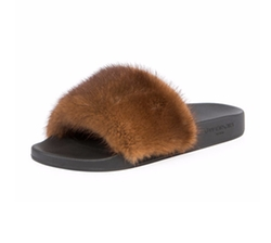 Mink-Fur Flat Slide Sandals by Givenchy in Keeping Up With The Kardashians