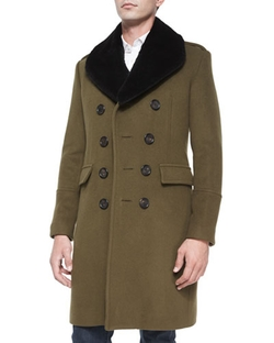 Rabbit-Fur Collar Military Coat by Burberry London in My All American