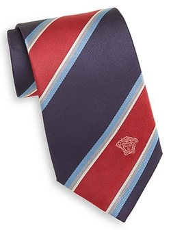 Wide Stripe Silk Tie by Versace in Ashby