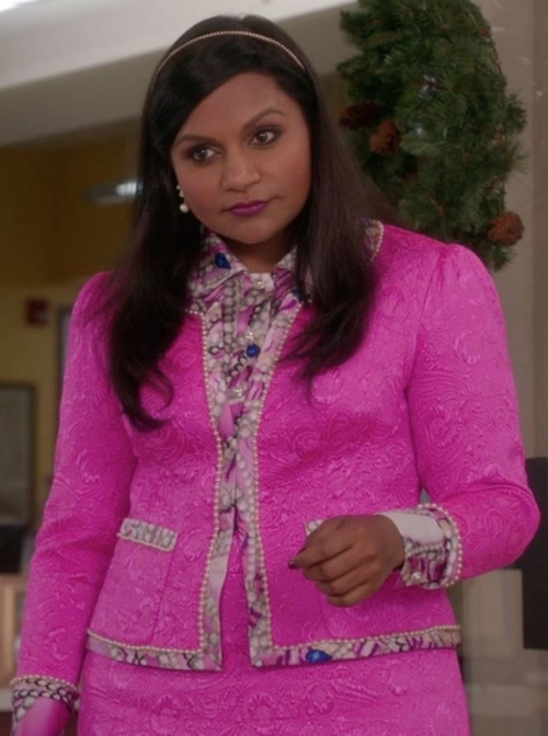 Custom Made Pink Jacket and Skirt with Pearl Print Shirt by Salvador Perez (Costume Designer) in The Mindy Project - Season 4 Episode 13