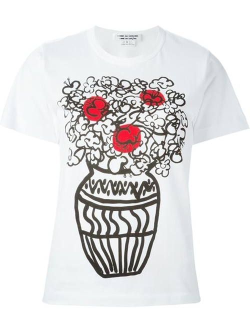 Floral Print T-Shirt by Comme Des Garçons in Knocked Up