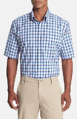 'Rho' Regular Fit Short Sleeve Plaid Sport Shirt by Peter Millar in Million Dollar Arm