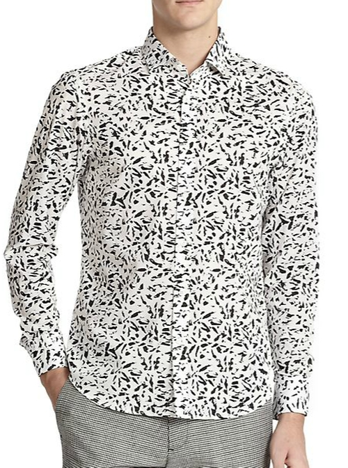 Splinter-Print Cotton Sportshirt by Kent and Curwen in Batman v Superman: Dawn of Justice