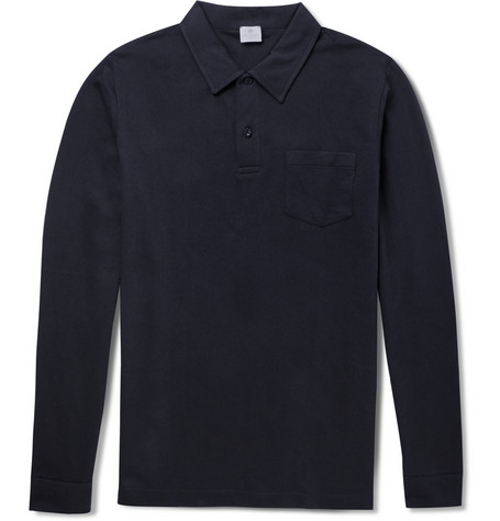 Riviera Long-Sleeved Cotton-Mesh Polo Shirt by Sunspel in Before I Wake