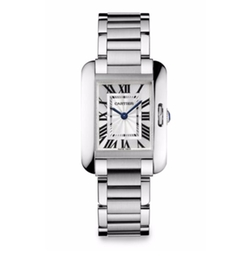 Tank Anglaise Small Stainless Steel Bracelet Watch by Cartier in Suits