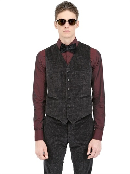 Printed Stretch Cotton Velvet Vest by Montezemolo in The Hateful Eight
