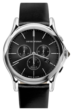 Chronograph Leather Strap Watch by Emporio Armani in Ballers