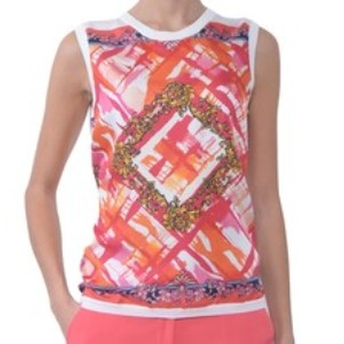 Graffiti Print Mixed Media Tank Top by Versace in Ballers
