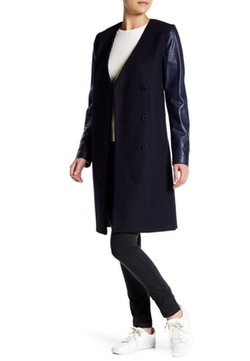 Quennel Leather Sleeve Wool Blend Coat by Theory in Quantico