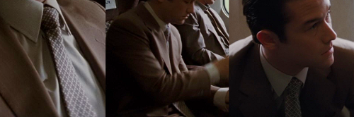 Custom Made Tan Suit by Jeffrey Kurland (Costume Designer) and Dennis Kim (Tailor) in Inception