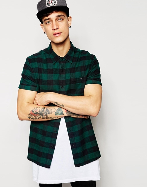 Short Sleeve Plaid Shirt by ASOS in Straight Outta Compton