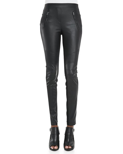 Faux-Leather/Ponte Leggings by BCBGMAXAZRIA in Vice