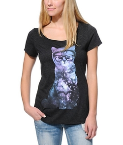 Cosmic Cat Scoop Neck T-Shirt by A-Lab in Scream Queens