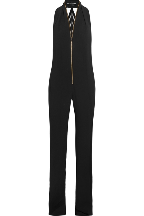 Wera Velvet-Trimmed Crepe Jumpsuit by Roland Mouret in Keeping Up With The Kardashians - Season 11 Episode 2
