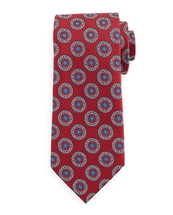 Circle-Medallion Print Silk Tie by Ermenegildo Zegna in Scandal