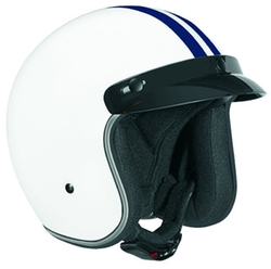 Stripe Open Face Helmet by Vega in Eddie The Eagle