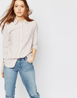 Rust Stripe Boyfriend Shirt by Asos Collection in Pretty Little Liars