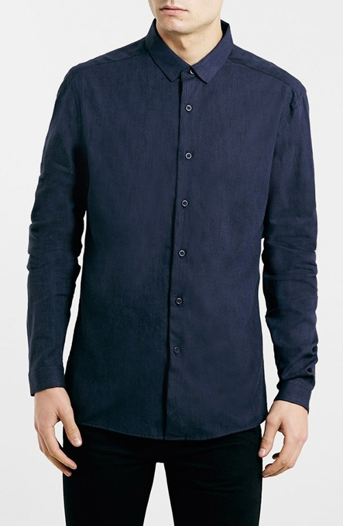 Slim Fit Premium Cotton & Linen Shirt by Topman in Paper Towns