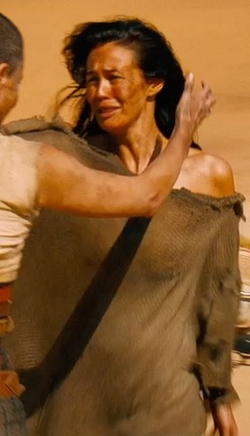 Custom Made Off Shoulder Distressed Dress (Valkyrie) by Jenny Beavan (Costume Designer) in Mad Max: Fury Road