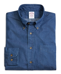 Regular Fit Button-Down Collar Denim Sport Shirt by Brooks Brothers in Contraband