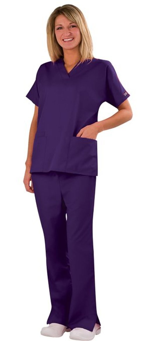 Women's Two Pocket Top and Flare Leg Pant Scrub Set by Cherokee in If I Stay