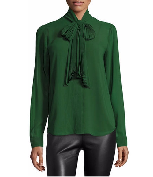 Pleated Tie-Neck Blouse by Michael Kors in The Boss