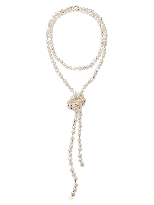 Extra Long Pearl Sautoir Necklace by Ginette NY in Scream Queens - Season 1 Episode 10