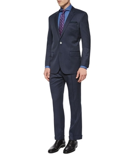 Slim Fit Striped Two-Piece Wool Suit by Boss Hugo Boss   in The Good Wife