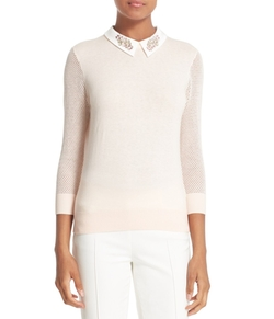 Embellished Collar Mesh Sleeve Sweater by Ted Baker London in Riverdale