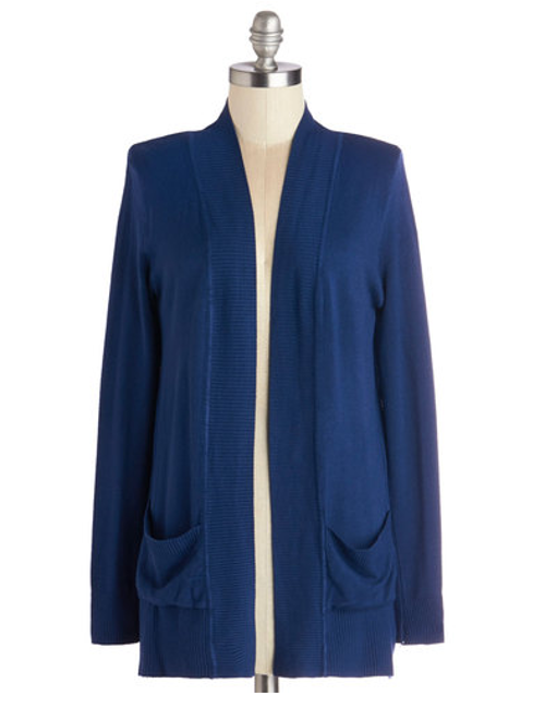 Coffee Date Night Cardigan in Navy by ModCloth in St. Vincent