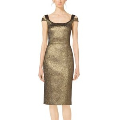Metallic Paisley Jacquard Sheath Dress by Michael Kors in Scandal - Season 5 Episode 9