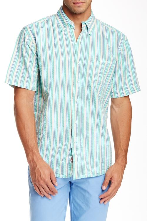 Laguna Seersucker Classic Fit Short Sleeve Shirt by Vintage 1946 in Inherent Vice
