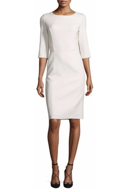 3/4-Sleeve Round-Neck Sheath Dress by Carolina Herrera in Power