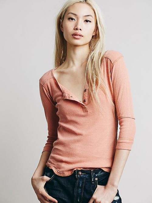 Monday Henley Shirt by We The Free in Grease