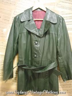 Vintage 70's Hunter Green Leather Belted Car Coat Jacket by Sydneysvintageclothing in Anchorman 2: The Legend Continues