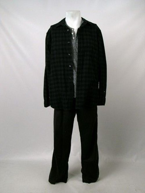 Black and Green Small Box Plaid Flannel Shirt by Club Monaco in Prisoners