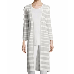 Sheer-Striped Long Duster Coat by Misook in Fuller House