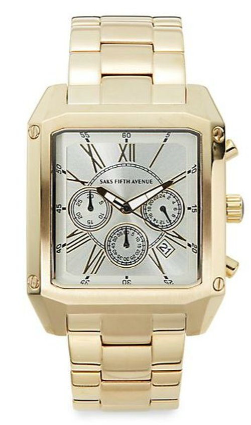 Goldtone Stainless Steel Chronograph Link Watch by Saks Fifth Avenue in Begin Again